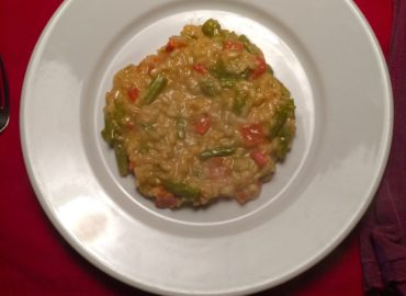 Redbridge, Asparagus, and Red Pepper Risotto