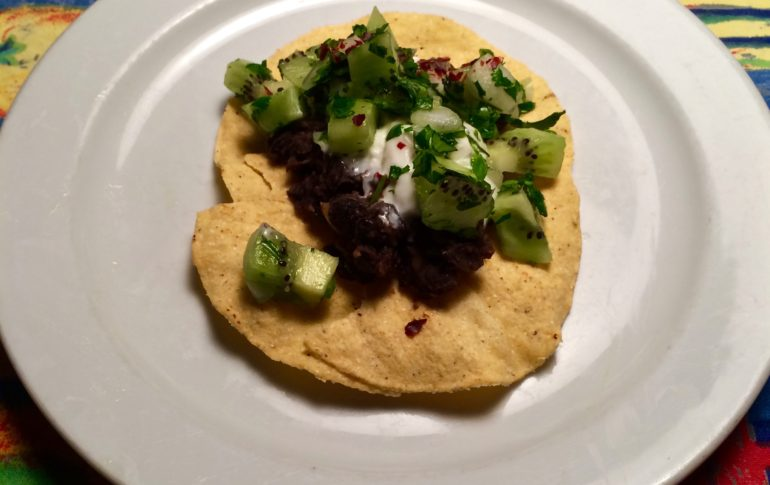 Black Bean Tostadas with Kiwi Salsa