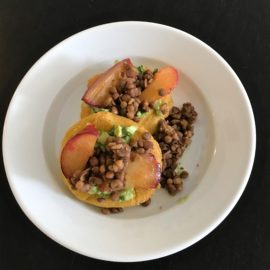 Gluten Free Arepas with Guacamole, Lentils, and Plums