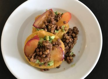 Arepas with Guacamole, Plums, and Lentils